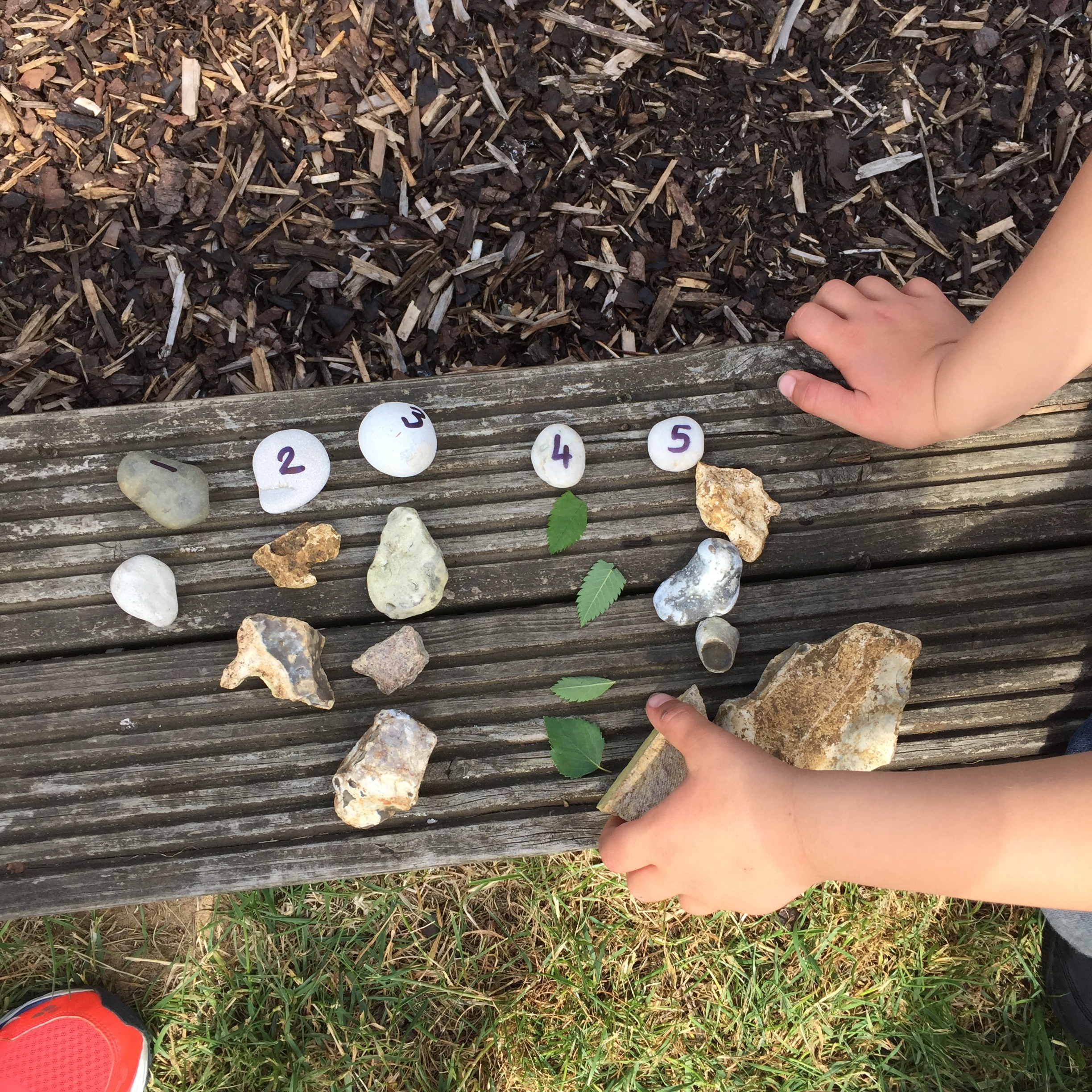 The results of a numbered stone treasure hunt combined with appropriate quantities of woodland materials.