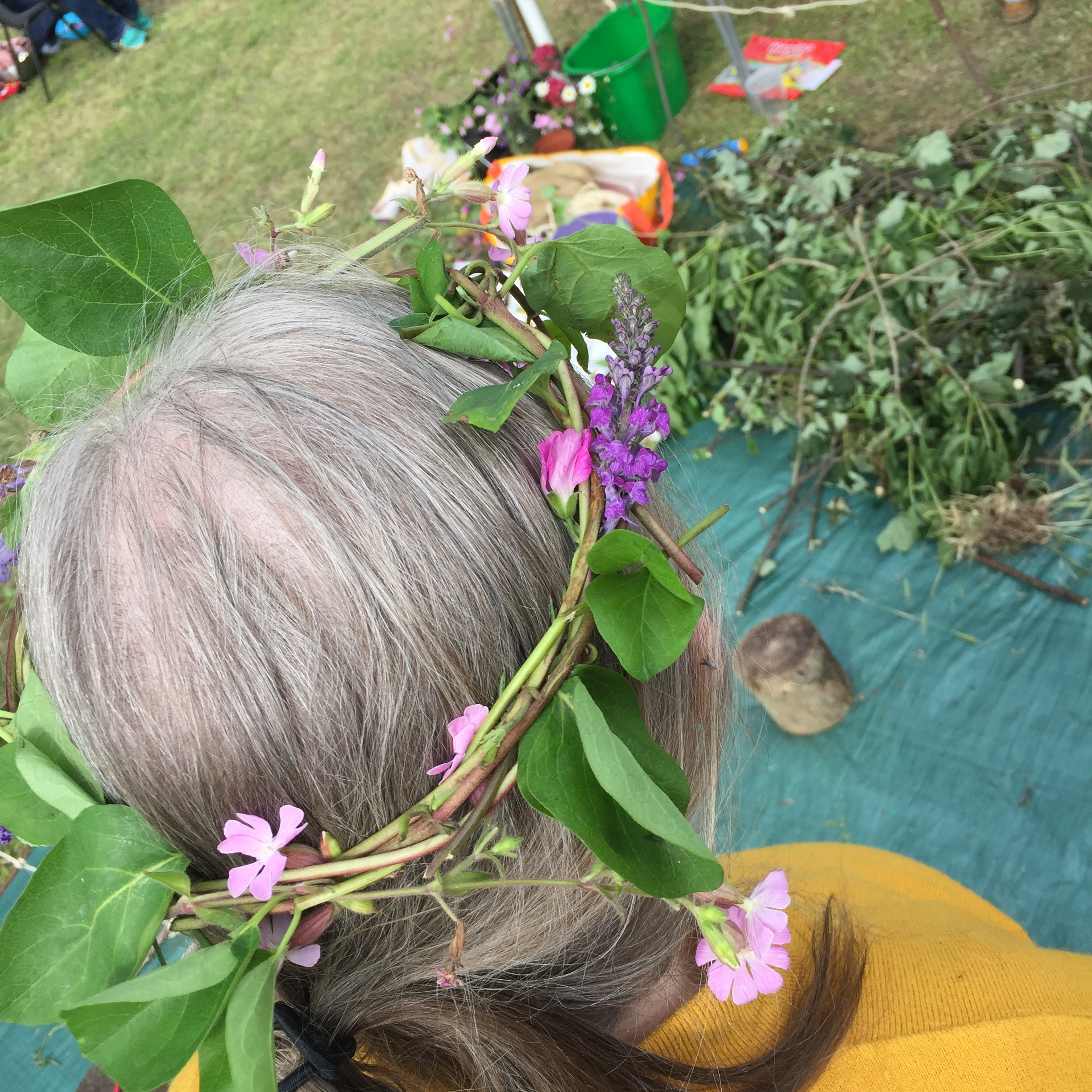 This granny enjoyed making her crown as much as her granddaughter.