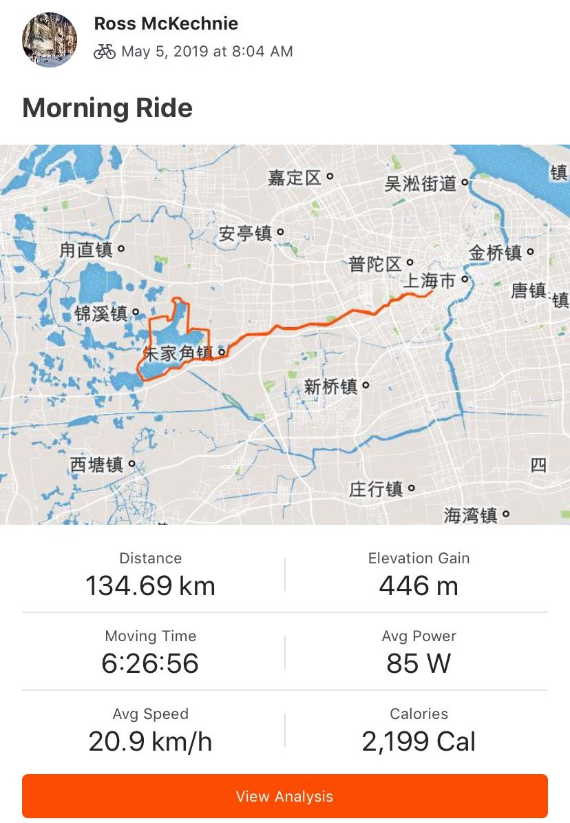 Some cool info Strava gives me after a recorded cycle.