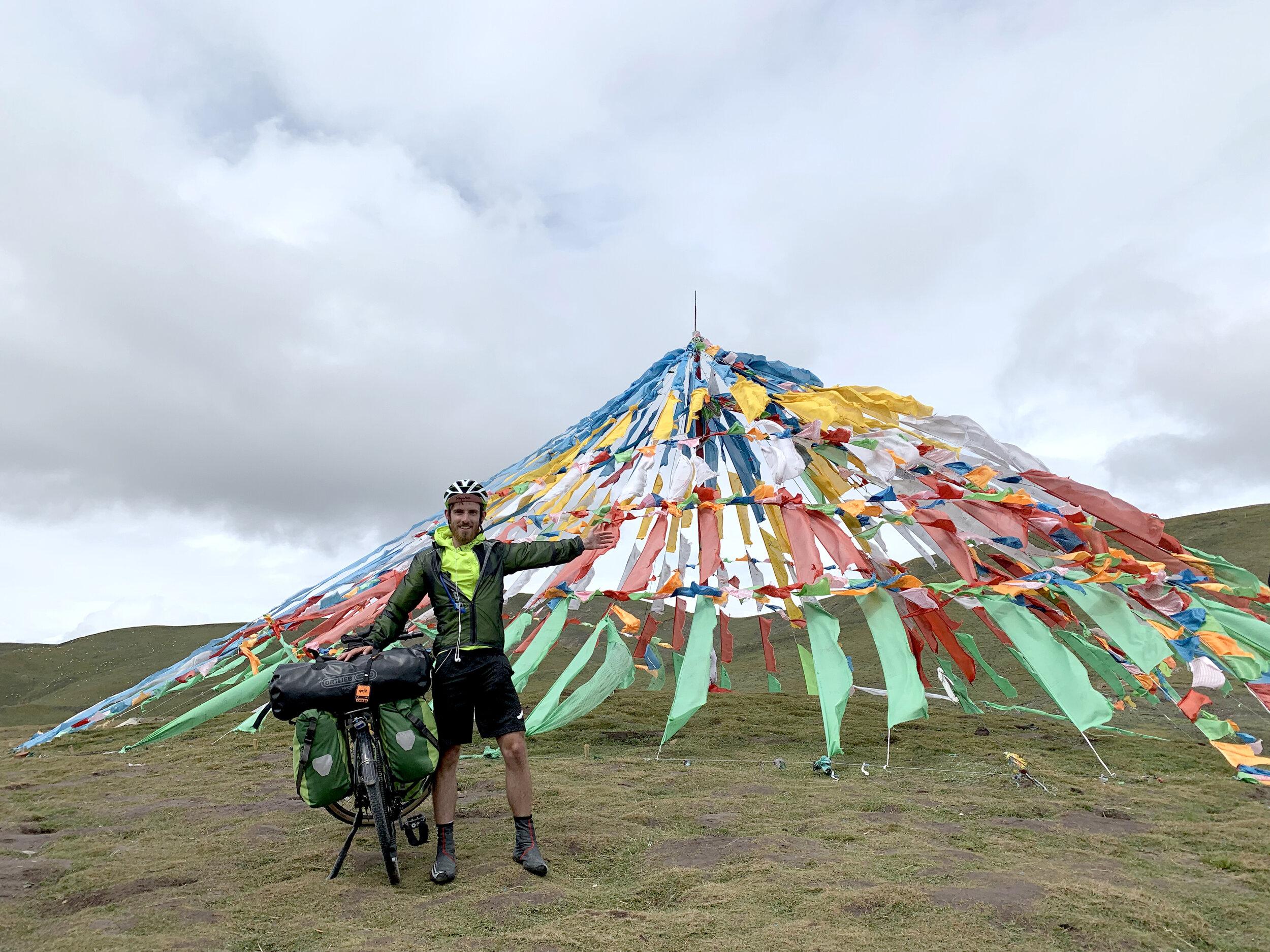 Tibetan prayer flags… It's a sign that I'm near Xinjiang.