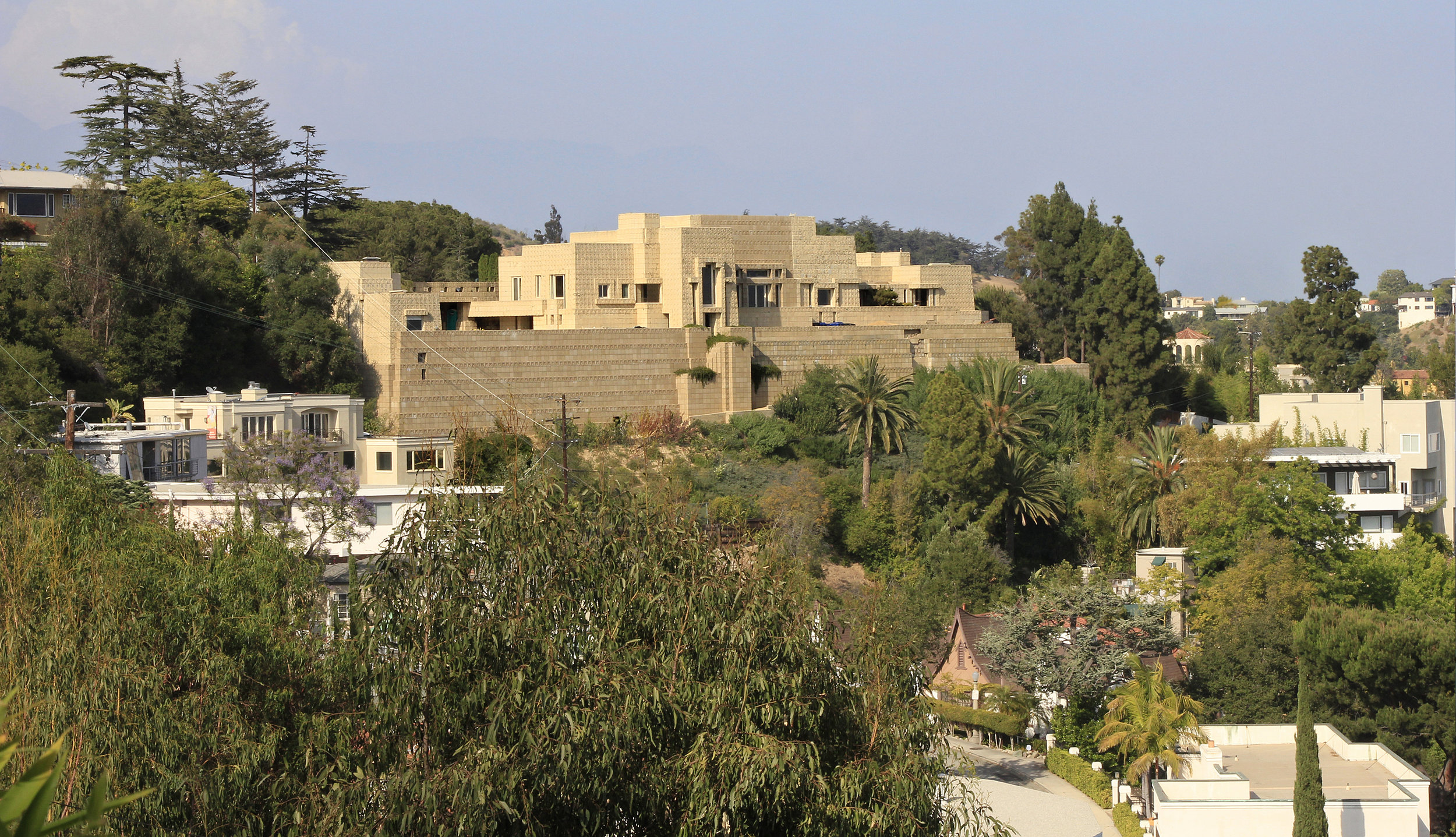 Ennis House - Frank Lloyd Wright. 1924. Los Feliz, Los Angeles. Often recognized from its appearance in many films, including Blade Runner, this monumental home is perched in the hills above Los Feliz.   Learn more about noteworthy architecture in Los Feliz here.