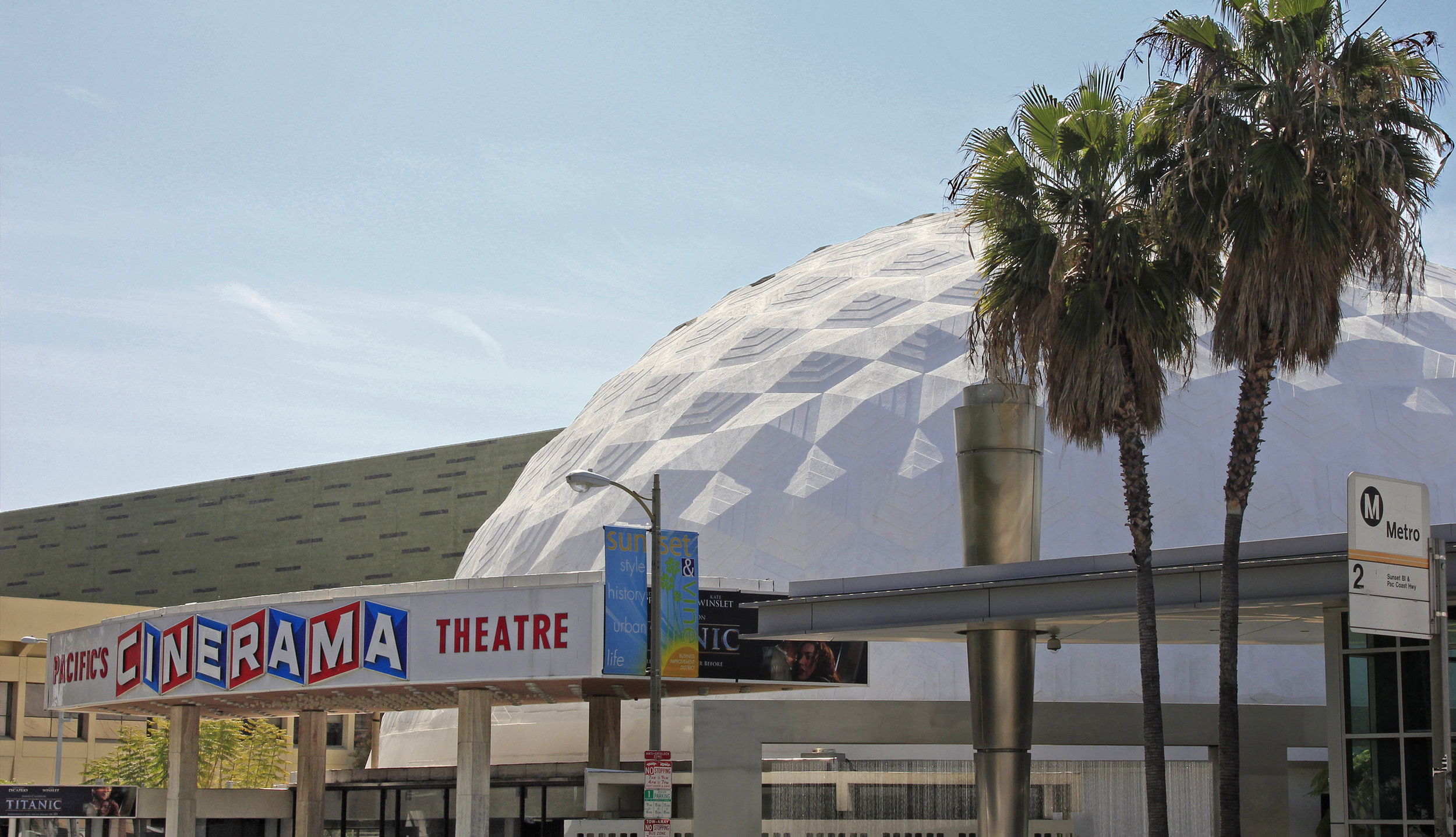 Cinerama Dome - Welton Beckett. 1963. The ArcLight cinemas 70mm theatre on Sunset Boulevard in Hollywood is one of only three dome theaters remaining in the world today.