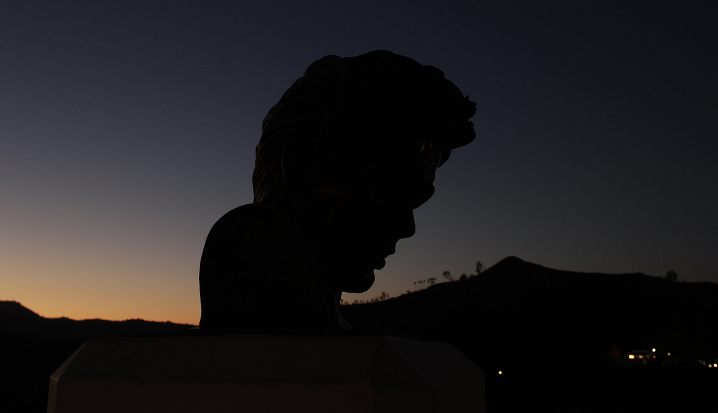 Bust of James Dean outside of the Griffith Observatory, the shooting location of famous scenes from the film Rebel Without a Cause.