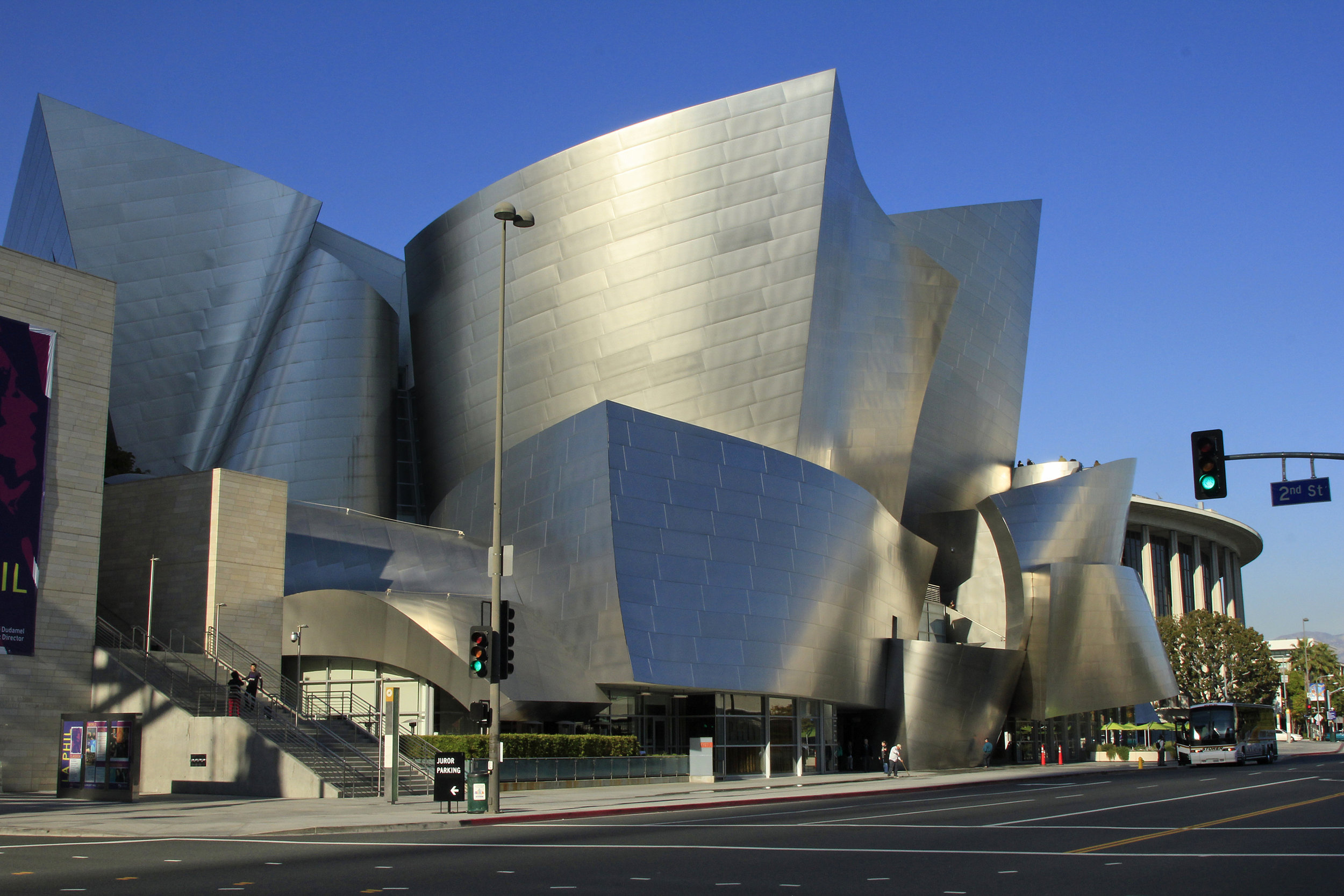 Walt Disney Concert Hall - Frank Gehry. 1999-2003. Eleven years and $274 million dollars were required to build the beautiful and and acoustically luscious venue that's home to the Los Angeles Philharmonic at the Performance Arts Center in Downtown L.A.