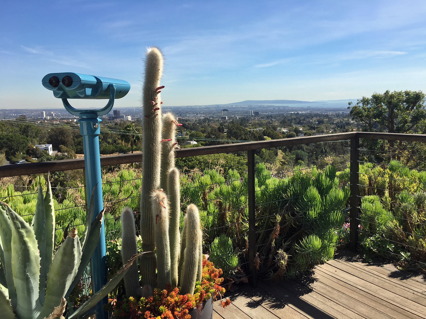 …viewing binoculars to get a closer look at everything from the nearby Getty Center to the nighttime sparkle of Queens Necklace in Palos Verdes.