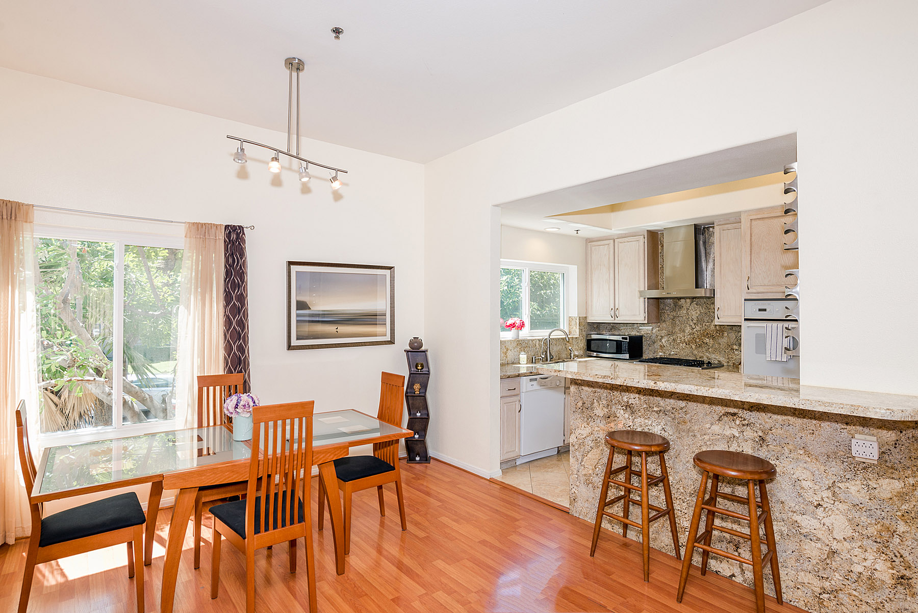 Open floor plan - living room spills into dining room and kitchen.