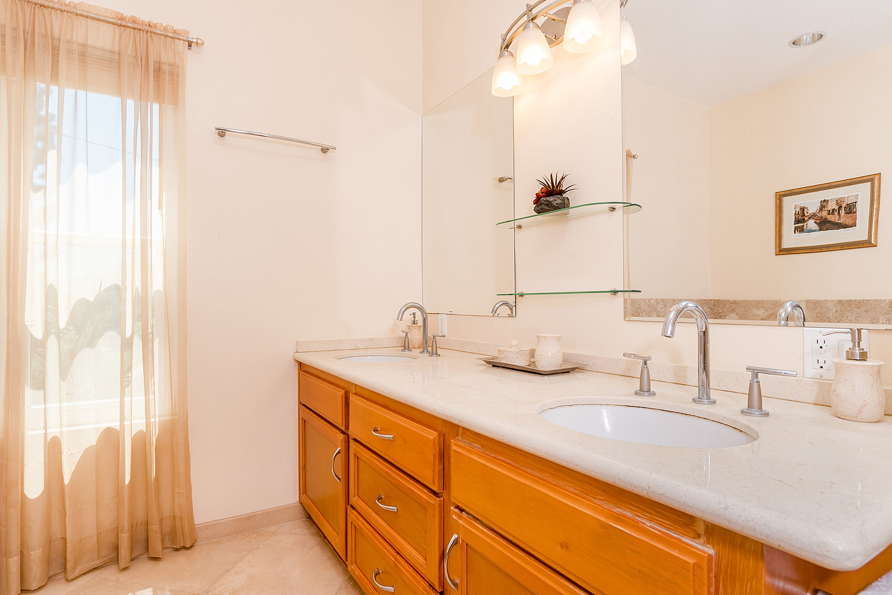 Imported marble in master bath, with an inviting tub imported from Italy.