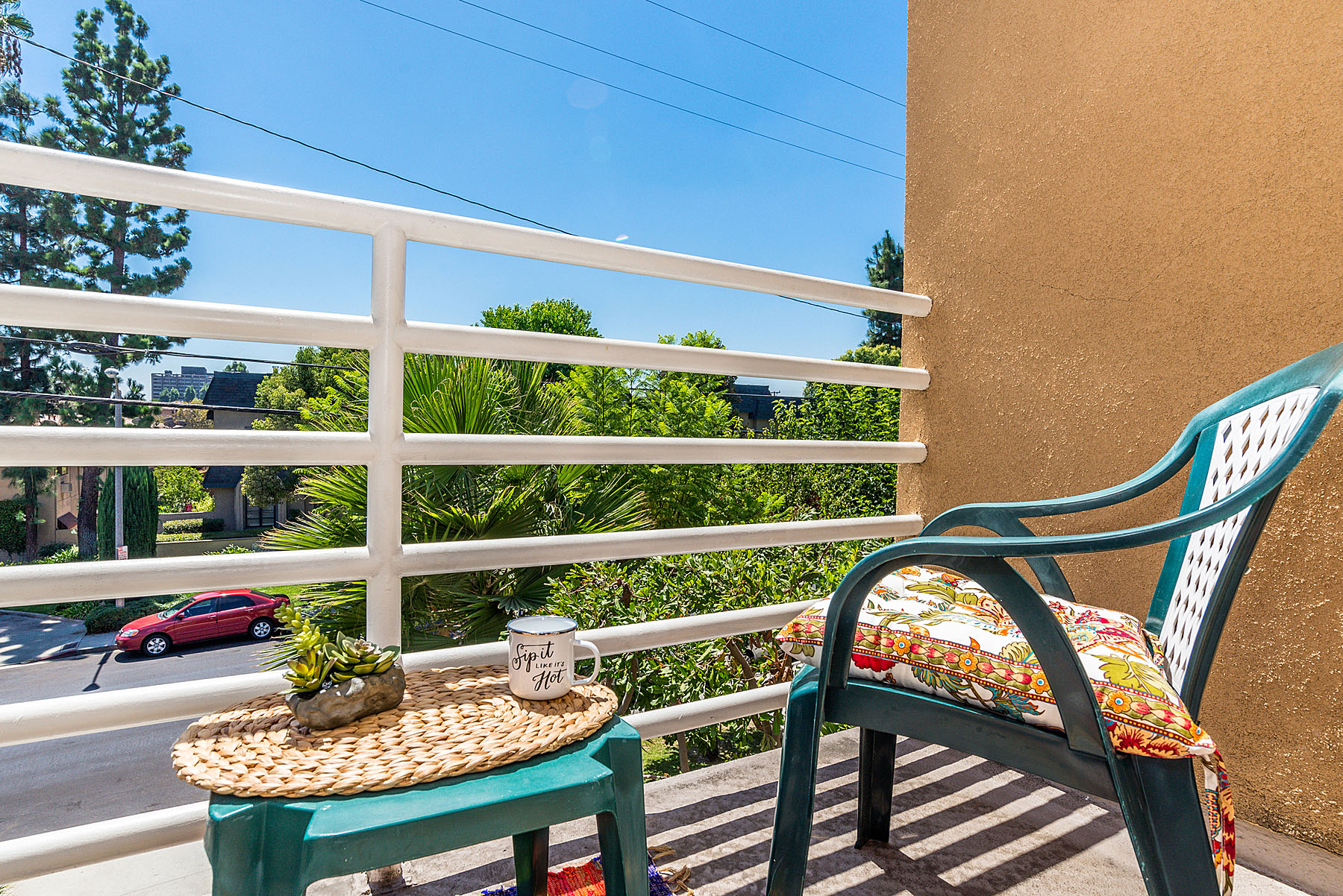 Have a coffee in the morning in your upstairs balcony, overlooking the tree tops.