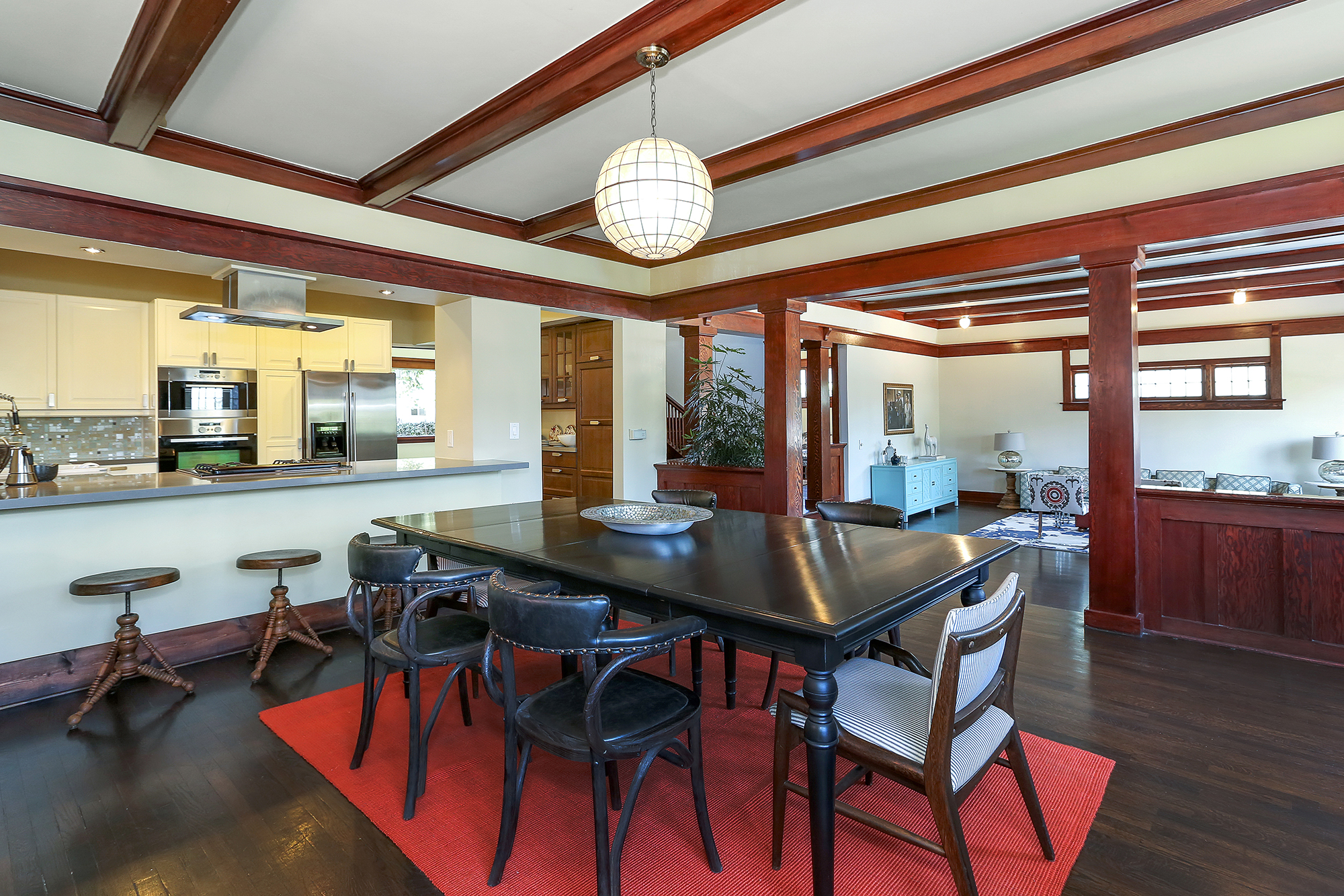 An extensive list of updates, including a complete kitchen makeover, brings this home smartly into the 21st century. The open design of this remodel does a brilliant job of connecting the dining room to the kitchen and features a breakfast bar that easily accommodates 4 seats.