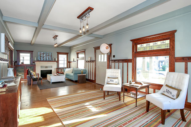 True to their underlying tenet, ReInhabit has saved and restored the best features of the home, including original millwork, pocket sliding doors, an abundance of built-ins, and leaded glass throughout the main level. And of course, stunning hardwood floors are found in every room.