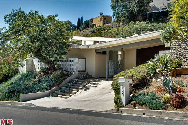 Situated in a prime section of the Hollywood Hills, the home is just a short drive up the hill from the ever-popular Sunset Plaza.