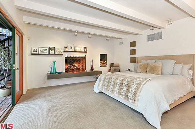The large master suite features a fireplace and generously sized bathroom with abundant closet space and access to the yard and spa.