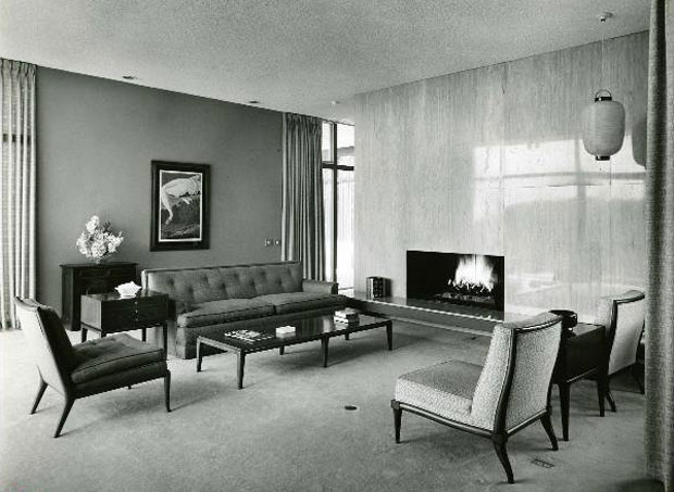 From this early photo of the same room, we can tell that it's virtually unchanged today.