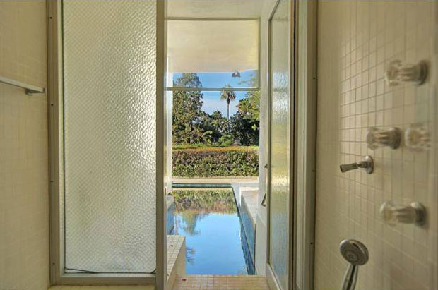 In addition to the expansive glass surfaces, which this home features, other elements that Levitt's designs often include are surprising entry sequences, such as this swim-up shower. That rocks.