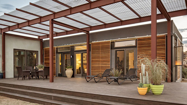 """If you weren't able to make it to the show, but you want to see one of their homes in person, you're in luck. Blu recently announced that the company will open its first model home in the Los Angeles area later this year. A 4 BR/4 BA, 2,900 square-foot Breezehouse will be located in Agoura Hills. Check the Blu Homes website for further information. http://www.bluhomes.com. The model pictured above is """"Origin""""."""