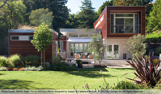 """BLU HOMES. - At the larger end of the spectrum and always popular at the Dwell conference are, well…, dwellings. The show included a variety of manufacturers of pre-fabricated homes, all of which were interesting, but my favorite this year was Blu Homes. These homes are gorgeous. And they're built to the highest 'green' standards. Blu's breakthrough computer modeling, unique use of steel and wood and revolutionary folding technology makes beautifully designed homes more economical to ship and quicker to set up than other modern, green homes. The model pictured above is """"Sidebreeze""""."""
