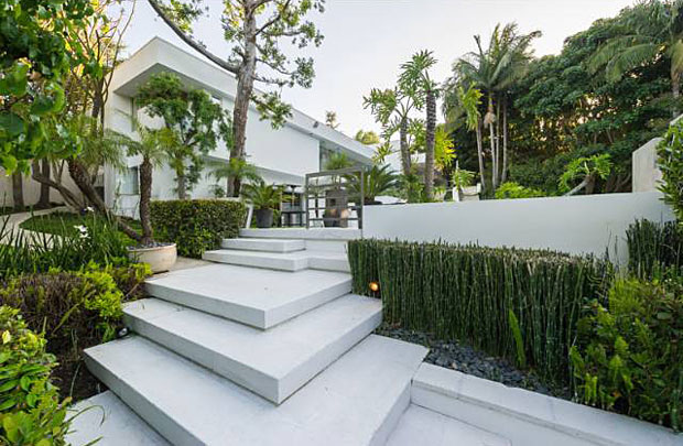 Every inch is of the property has a balanced, Zen aesthetic to it - even this walkway.