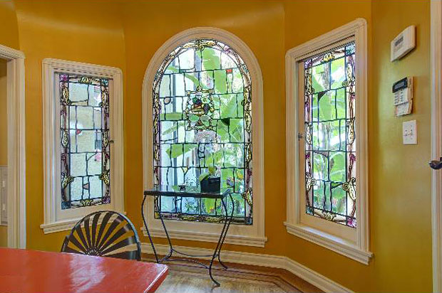 Even the breakfast nook features beautiful stained glass windows.