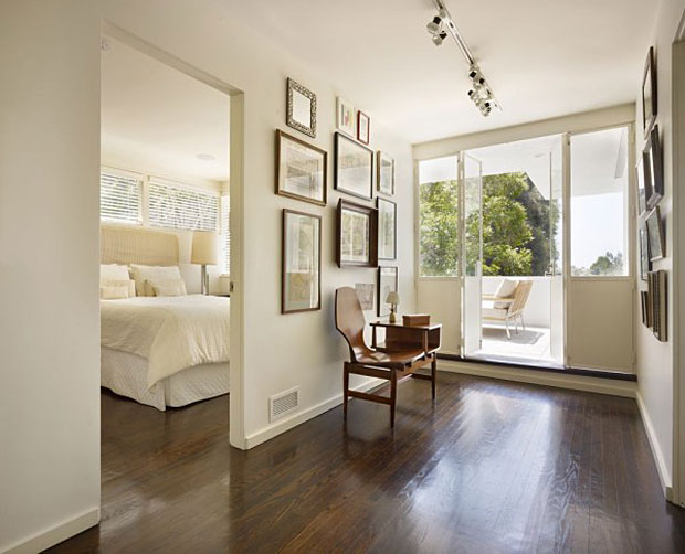 Master suite and adjacent office or additional bedroom with select city views. 20' high by 10' opaque glass wall washes light - threading the staircase through each volume.