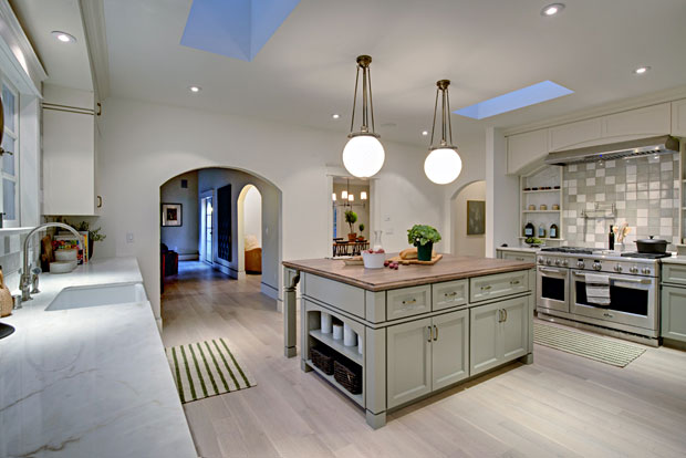 I love the dark wood top selected for the center island because of the warm, comfortable aesthetic it lends to the space.