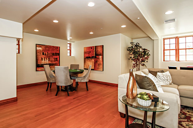 The huge lower level features large windows, a full bath, recessed lights and wood floors. Other features of the home include extensive foam insulation (resistant to mold growth and termites), R30 roof, R13 walls, R19 lower level ceiling, 20 SEER central 4 zone AC/Heat (95% efficiency), fire sprinklers, Bosch washer & dryer, Noritz water heater (11 gallons per minute), three motorized skylights with rain sensors, leased security and home system controls accessible via the Internet.