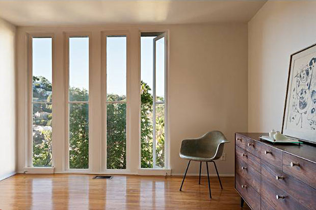 My favorite feature of the master bedroom are the four vertical floor-to-ceiling windows.