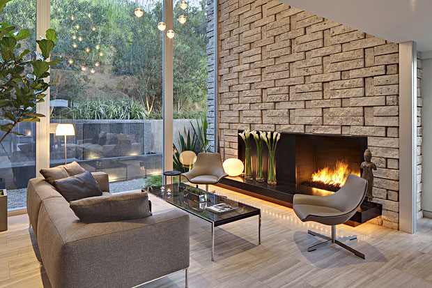 The choice of stone used for the fireplace is fantastic and the photos hardly do it justice.
