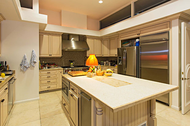 The kitchen has been beautifully updated with tastefully with a large center island.