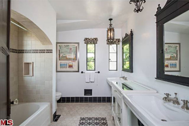 The finishes in the bathroom are regal and sparkling.