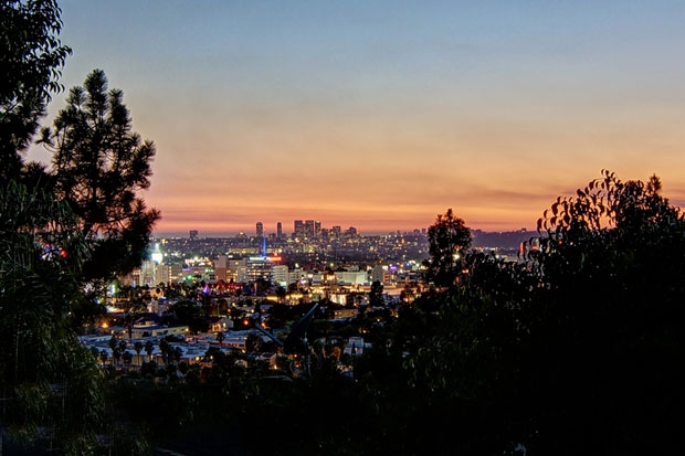 Hollywood and beyond twinkle at dusk.