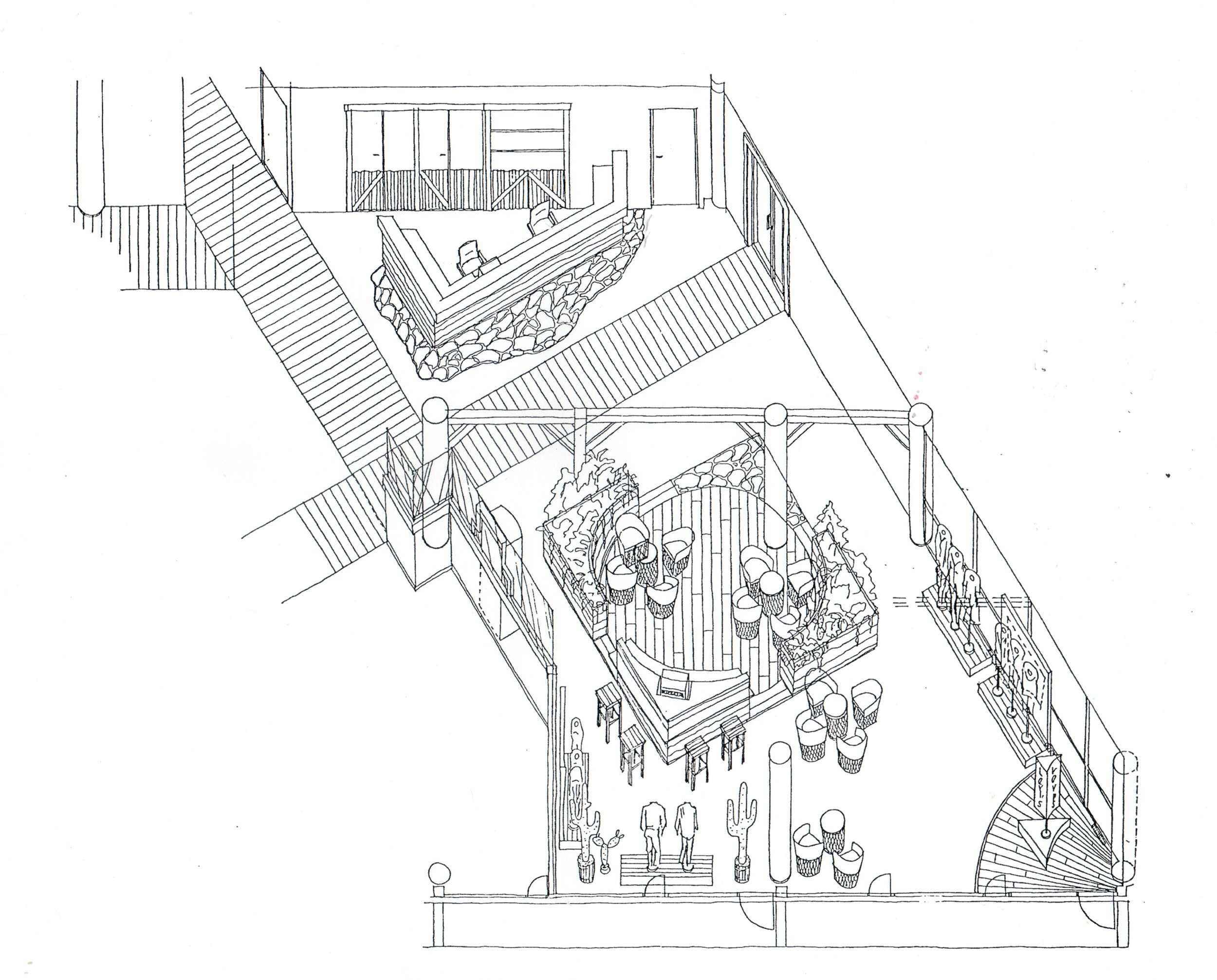 Isometric rendering of Levi's Strauss Headquarters, Aker Brygge, Oslo, Norway