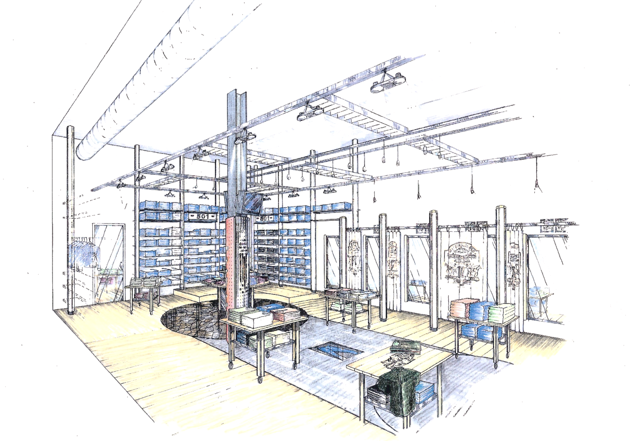 Concept rendering for Nordic Levi's Stores re-building
