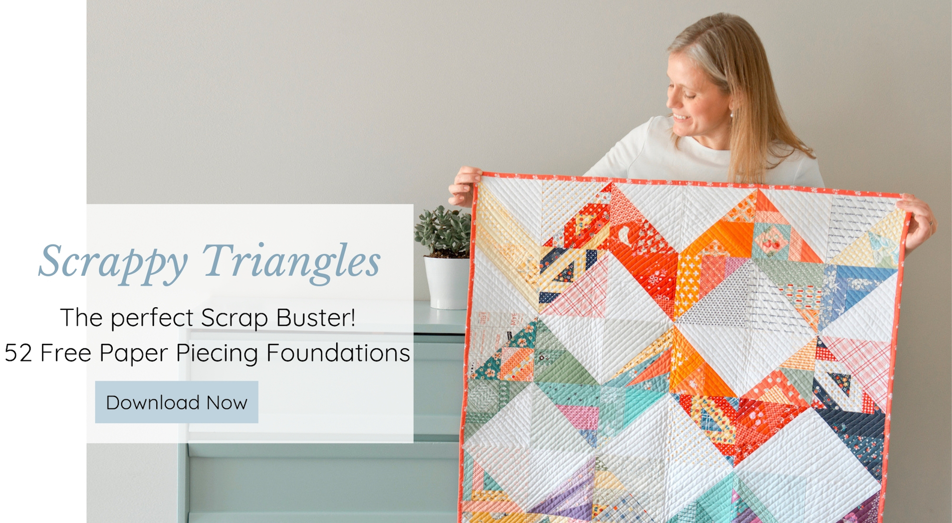 Free Patterns for the Year of Scrappy Foundation Paper Pieced Half Square Triangles