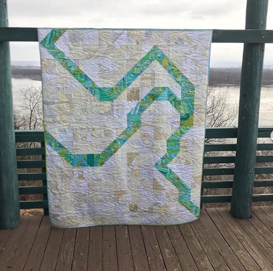 The Confluence (of the Mississippi and Missouri Rivers) Quilt by  @stlmqg  Photo by  @tracecreekquilting