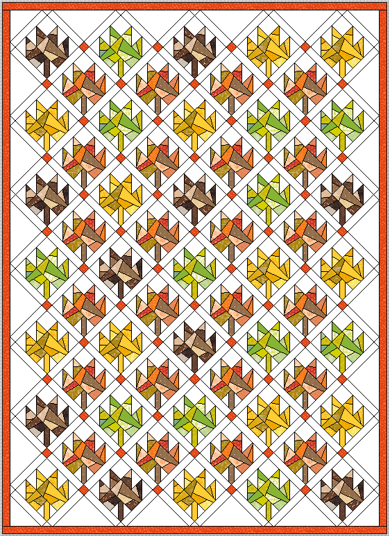 """Approx. 52"""" x 71"""" with 1"""" sashing and 1"""" border. This quilt has the same layout as the mini quilt, just expanded."""