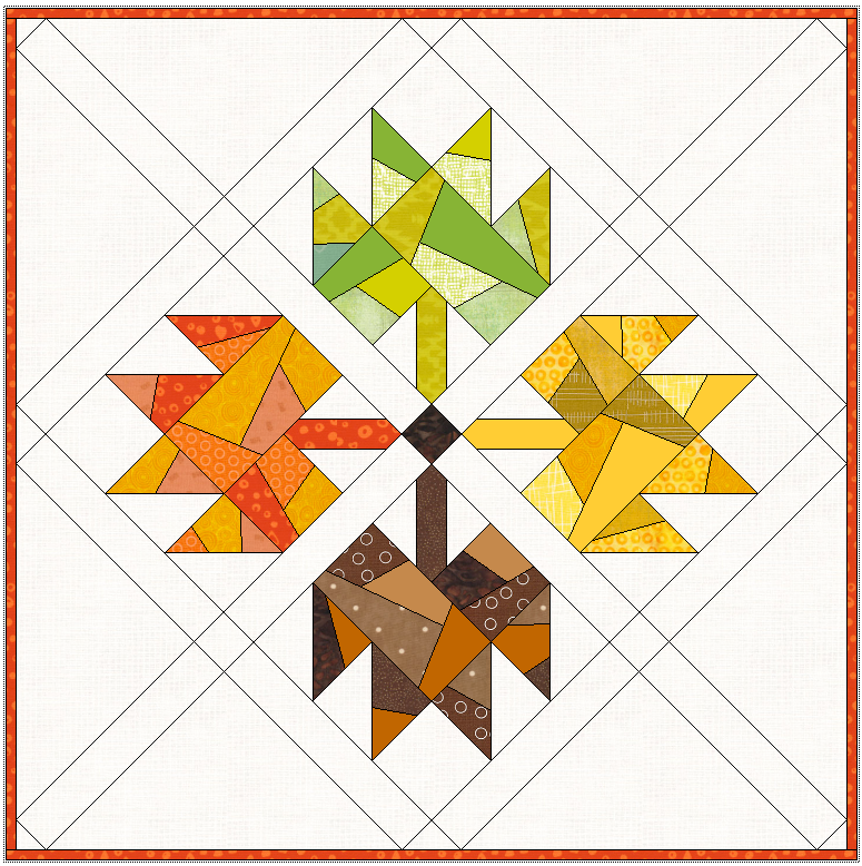 """19"""" x 19"""" Here is the same mini quilt, but with the stems all facing in instead of downwards."""