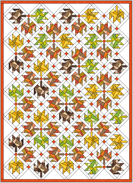 """Approx. 52"""" x 71"""" with 1"""" sashing and 1"""" border. Rotate the blocks for a different look."""