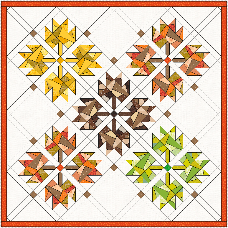 """Approx. 42"""" x 42"""" with 1"""" sashing and border. Take out a few blocks and group the leaves by color for a striking look. (I may have to make this one!)"""