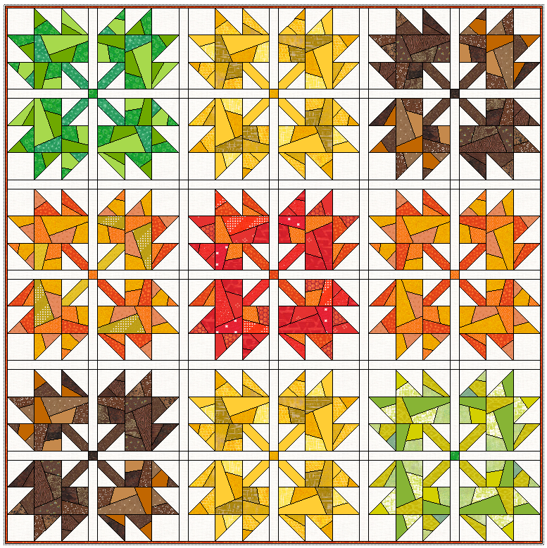 """59"""" x 59"""" with 1"""" sashing and no border. Here the blocks are sew together in the standard way (not on point). I really love grouping them by color. They are so beautiful!"""