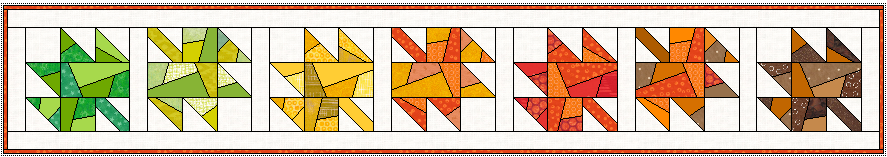 """8"""" x 50"""" Here's the same table runner but with the leaves alternating dictions so the runner doesn't seem 'upside down' from one side of the table."""