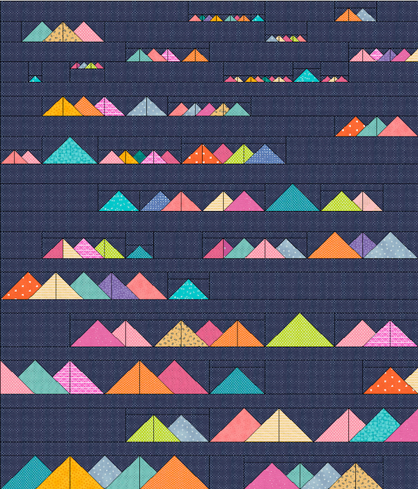 Navy background bright fabric scrappy mountain quilt mock up.png