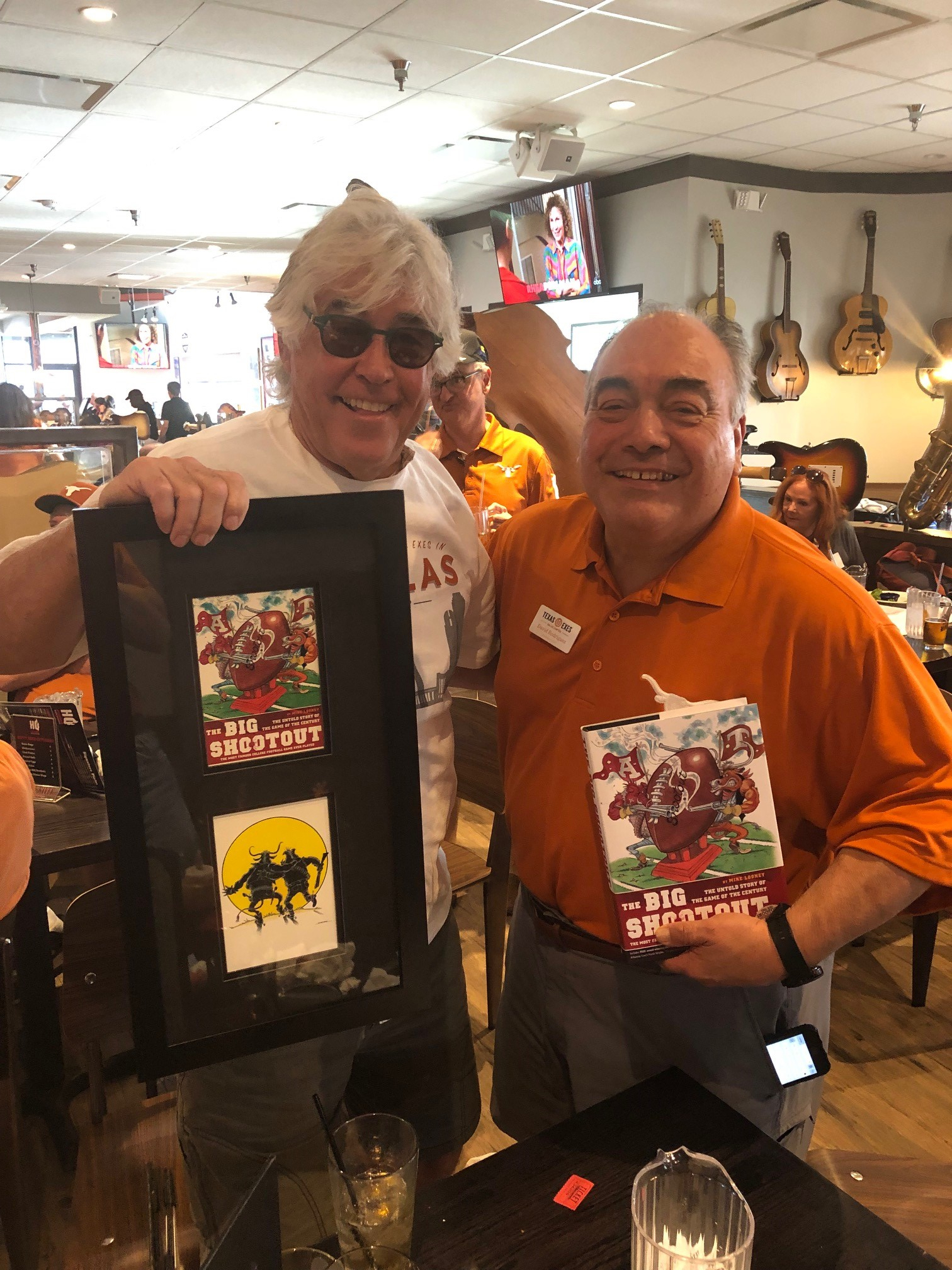 Mike with David Rodriguez, president of the Dallas Chapter of Texas Exes at HQ Prime Barbecue in Dallas