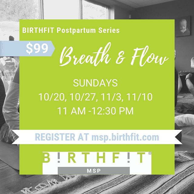 💚The BIRTHFIT Postpartum Series: Breath & Flow💚 is a great way to intentionally begin your postpartum recovery. It is a gentle and specifically designed class to help new moms slowly evolve from breath work to full body functional movement patterns.  Women who are at least 4 weeks postpartum are welcome to participate. This class is once per week for 4 weeks and is a great start point for the traditional BIRTHFIT Postpartum Series.  Our next session begins on Saturday October 20th and is hosted @motionminnesota in St. Paul with pelvic floor physical therapists on site during class.  Registration is now OPEN! #birthfit #birthfitmsp #breathandflow #dns #postpartumrecovery #birth #two#incities #mystpaul #minneapolis