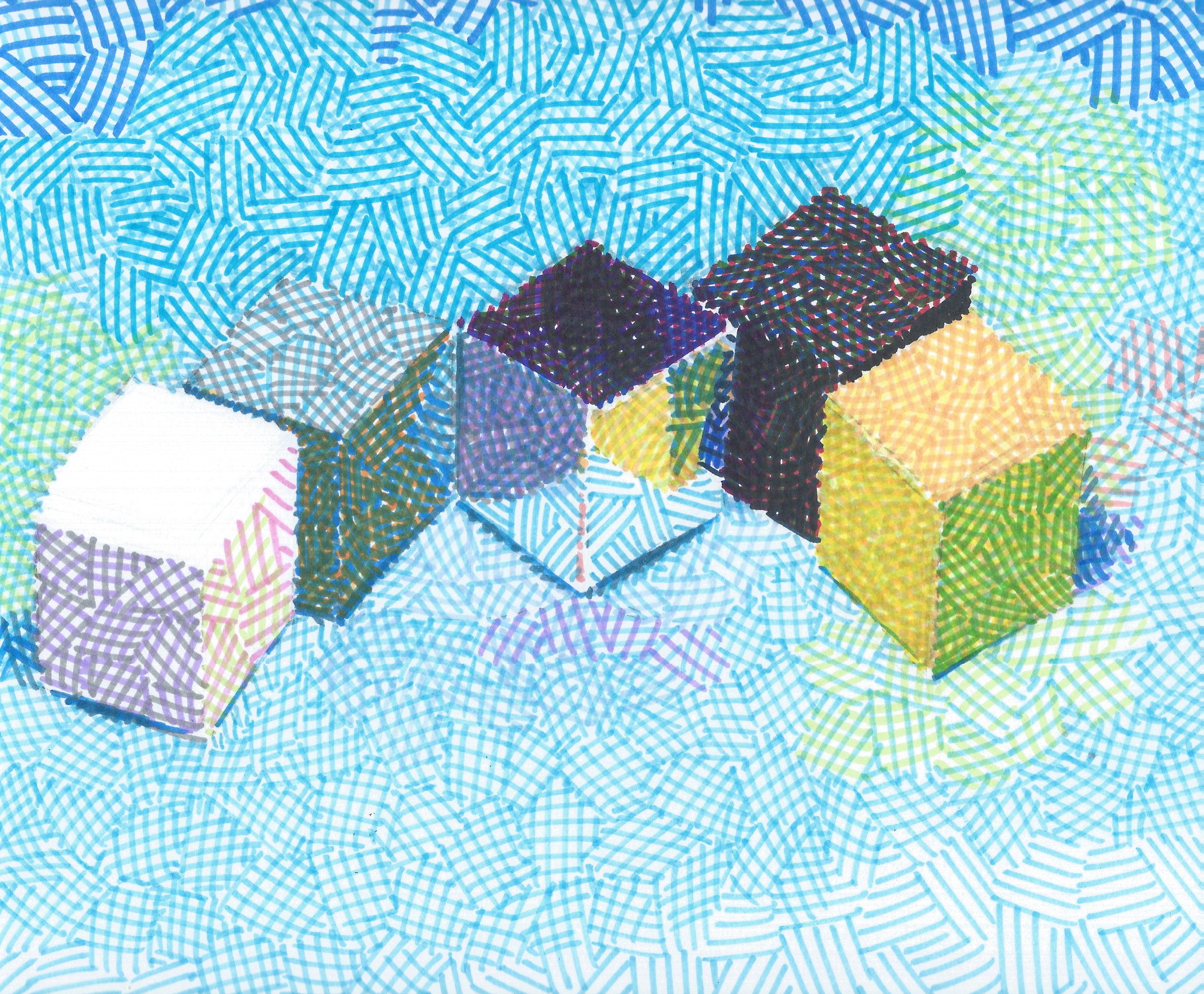 Four Colored and One Reflective Paper Cubes, 2014