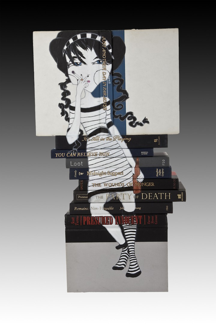 Mary Mary Quite Contrary , 21 ¾ x 12 ½ x 6 ½, Acrylic on stacked books