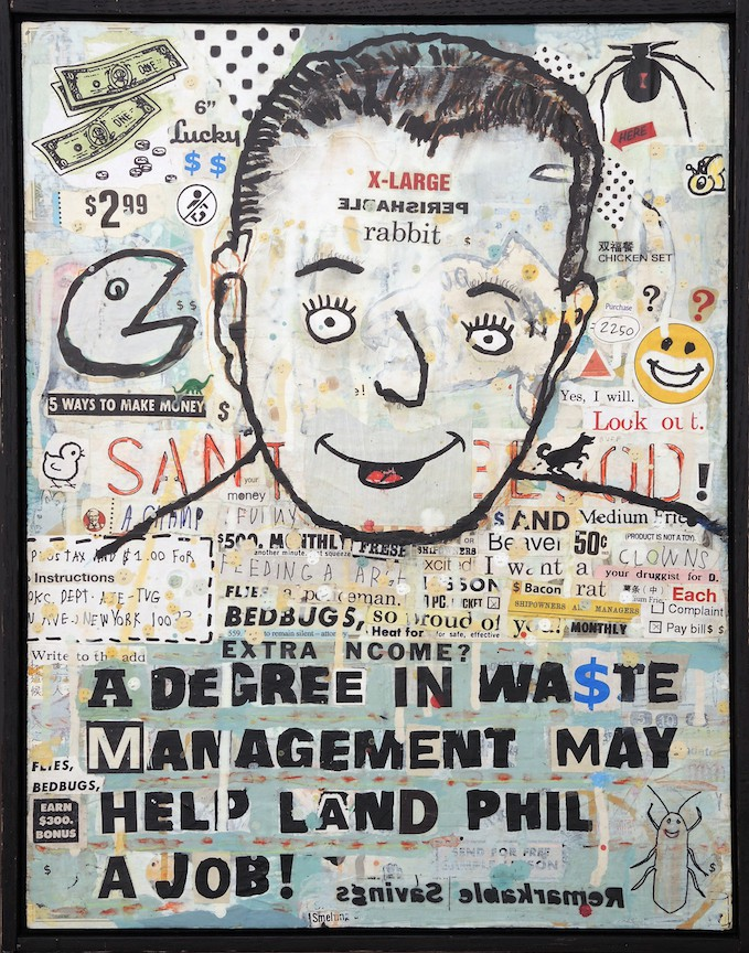 Landfill 19 x 15 Mixed media and collage on wood panel