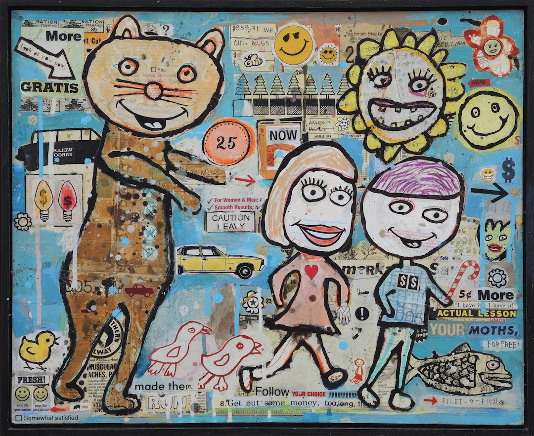 Renegade Parade 18 1/2 x 22 1/4 Mixed media and collage on wood panel
