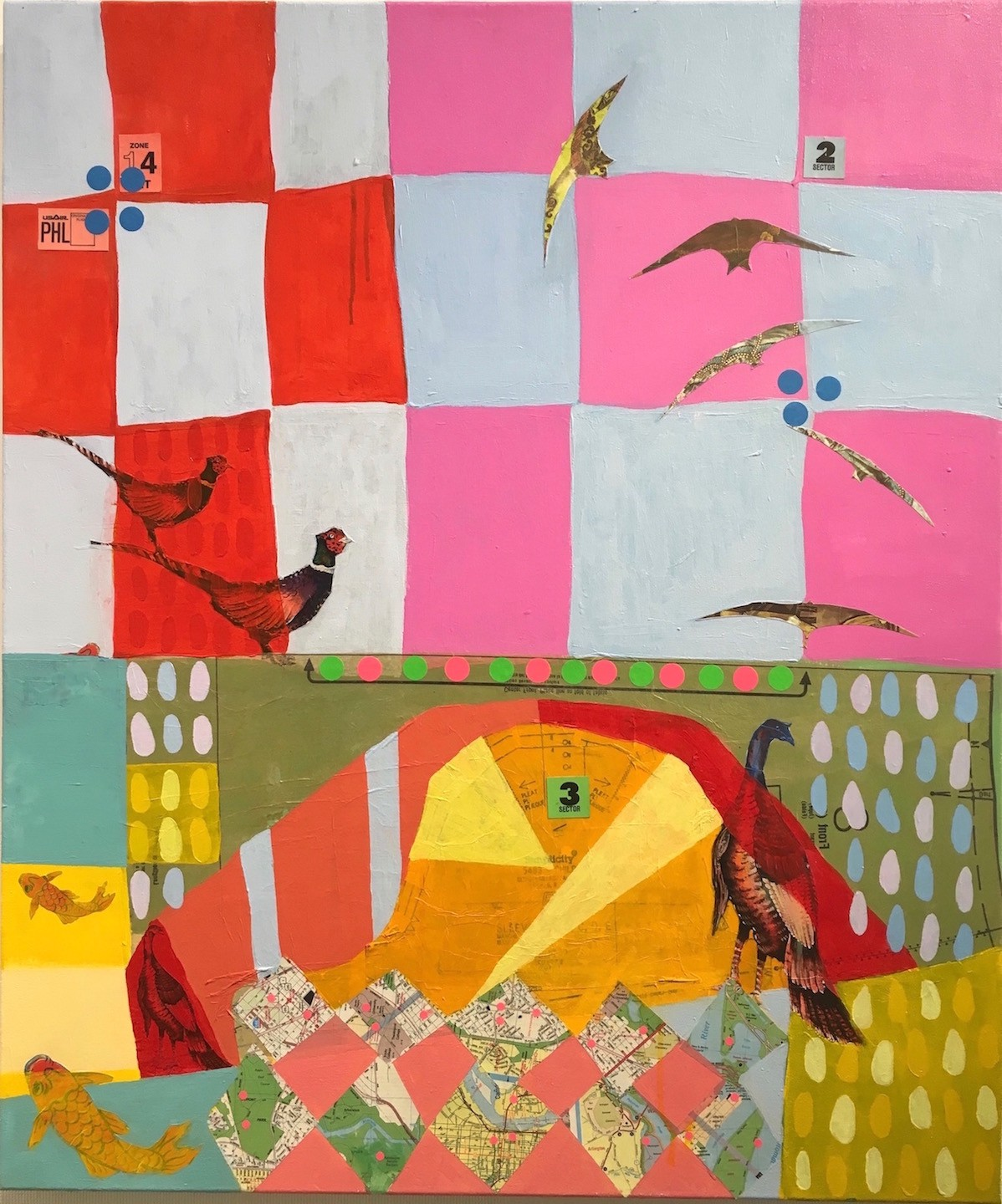A Birder's Guide , 36 x 30, Acrylic & collage on canvas