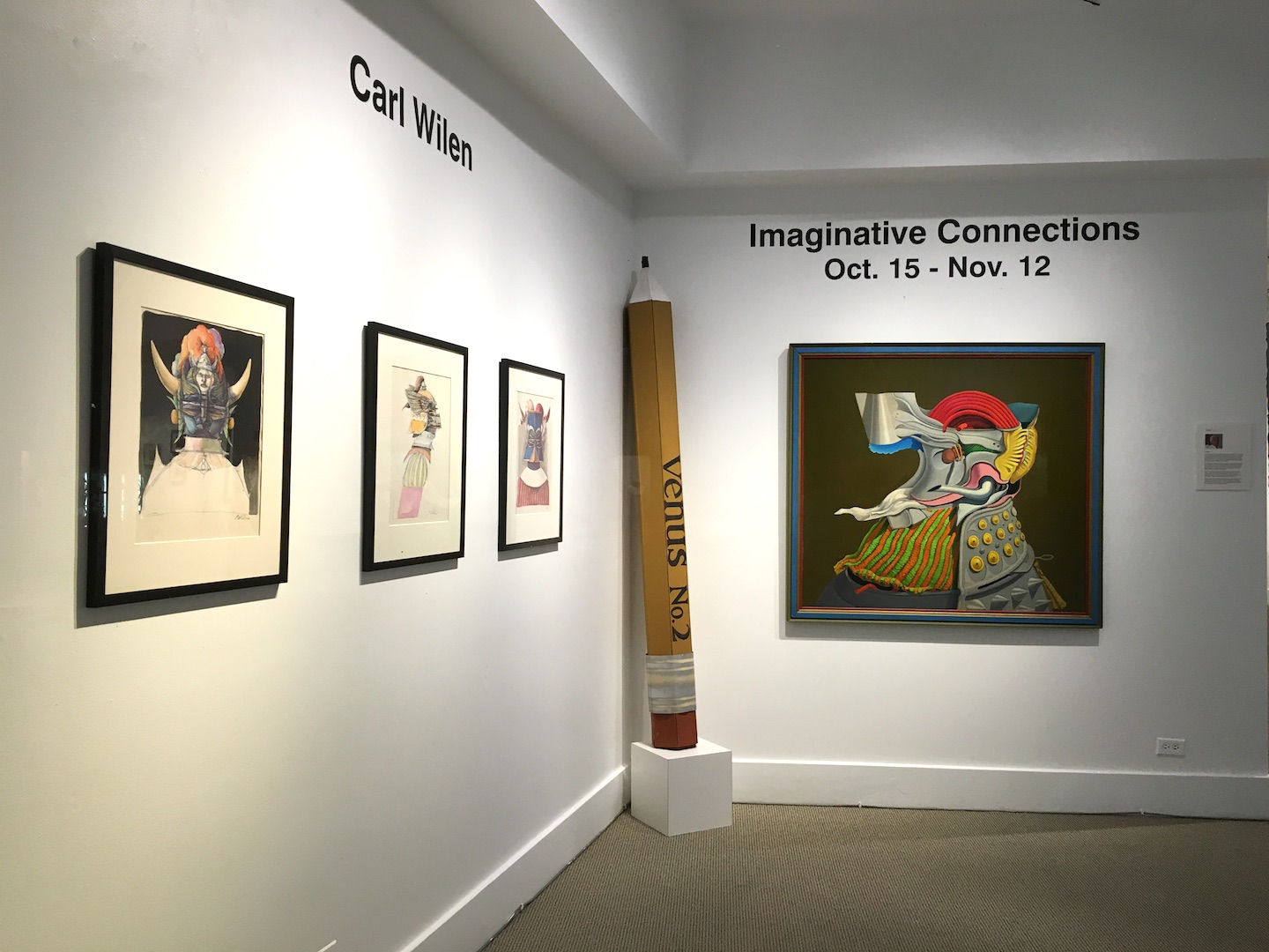 "Carl Wilen works in the three person exhibition from October 2016, ""Imaginative Connections."""
