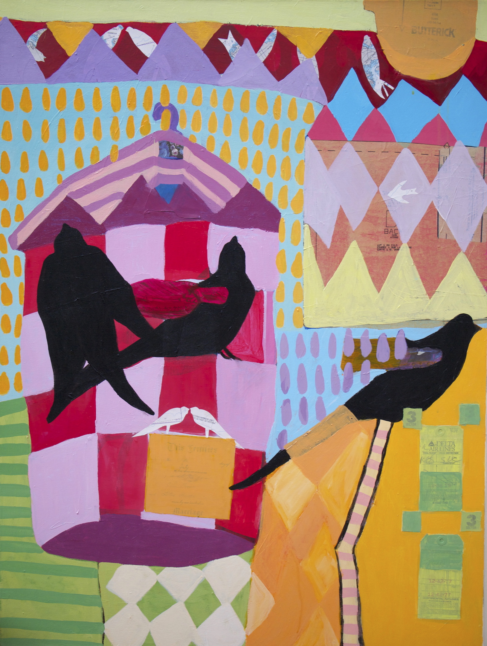 Aviary: The Union , 40 x 30, Acrylic and collage on canvas